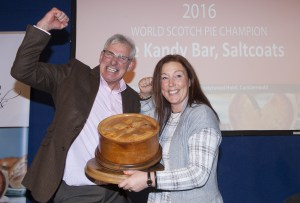 Stephen and Rona McAllister from The Kandy Bar of Saltcoats have won the World Scotch Pie Championship 2016. Having taken the title in 2014, the Scotch Pie Club is delighted to announce that the winner of the 17th World Scotch Pie Championship is The Kandy Bar of Saltcoats making them THE WORLD SCOTCH PIE CHAMPION OF 2016.